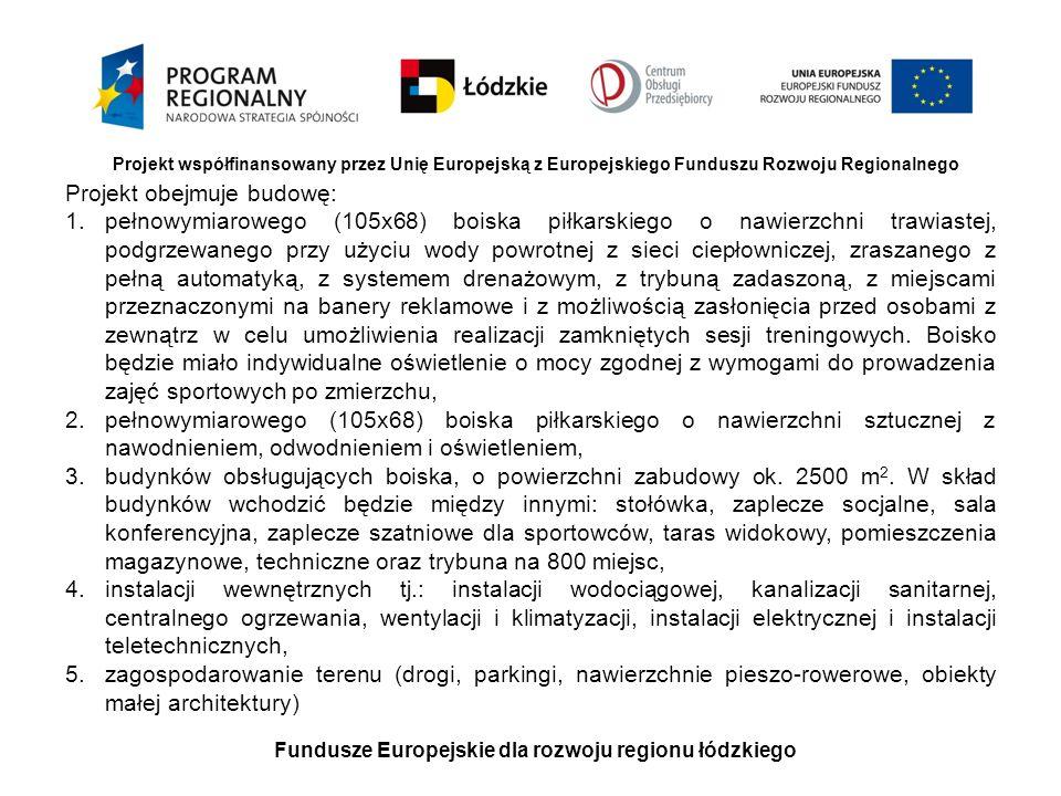Fundusze Europejskie dla rozwoju regionu łódzkiego Projekt współfinansowany przez Unię Europejską z Europejskiego Funduszu Rozwoju Regionalnego Projek