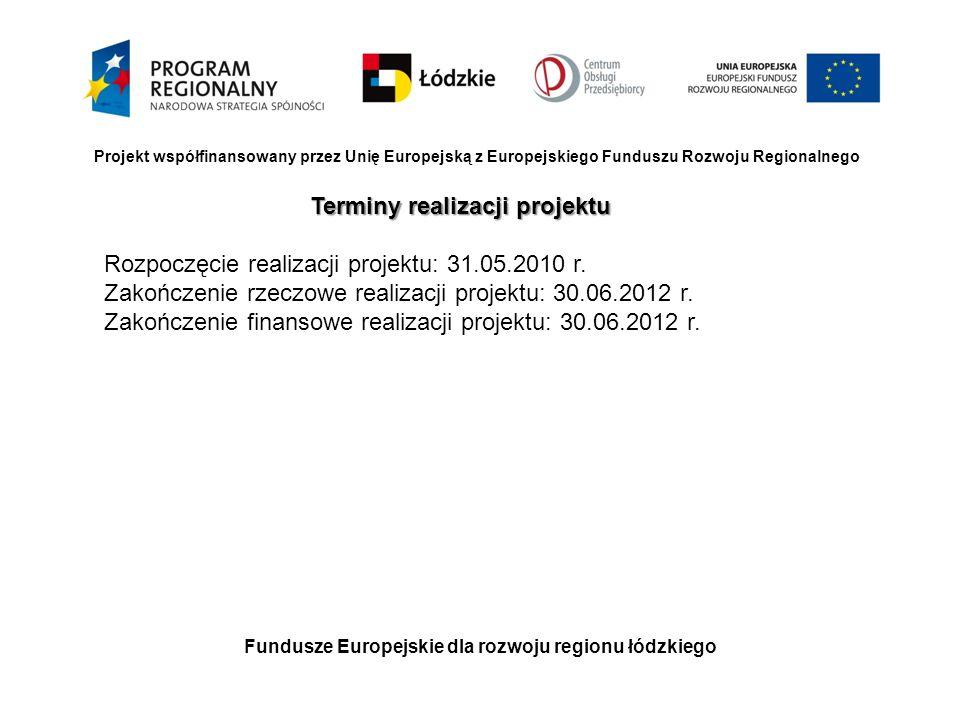 Fundusze Europejskie dla rozwoju regionu łódzkiego Projekt współfinansowany przez Unię Europejską z Europejskiego Funduszu Rozwoju Regionalnego Termin