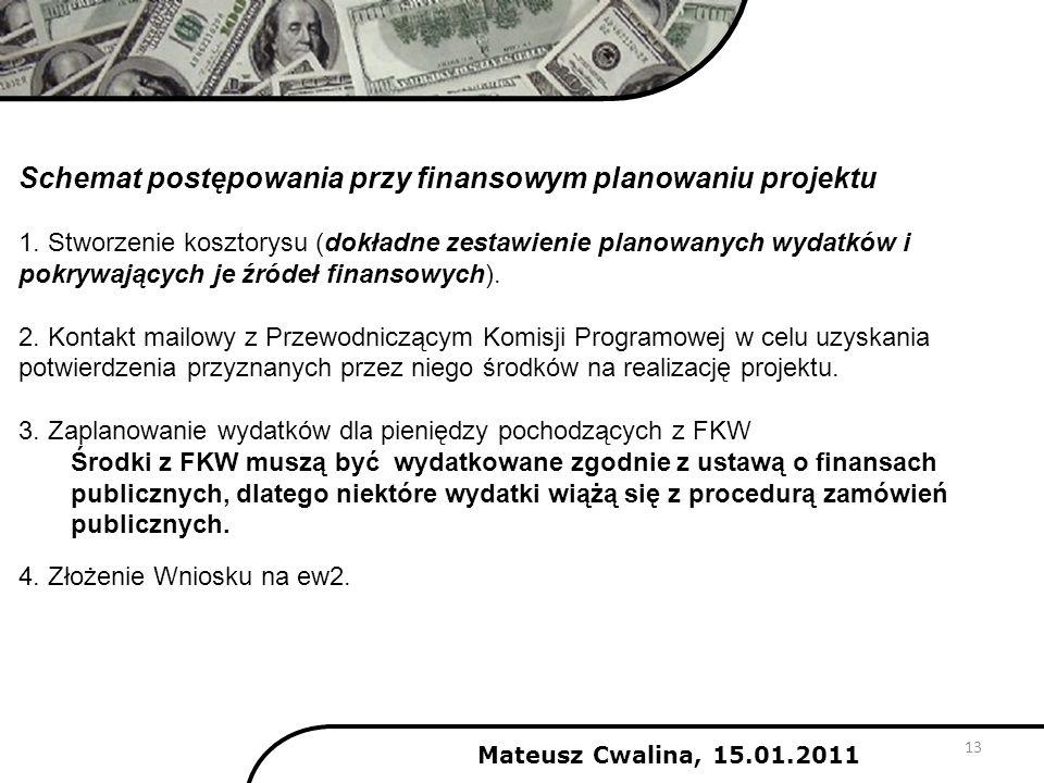 Mateusz Cwalina, 15.01.2011 Schemat postępowania przy finansowym planowaniu projektu 1. Stworzenie kosztorysu (dokładne zestawienie planowanych wydatk