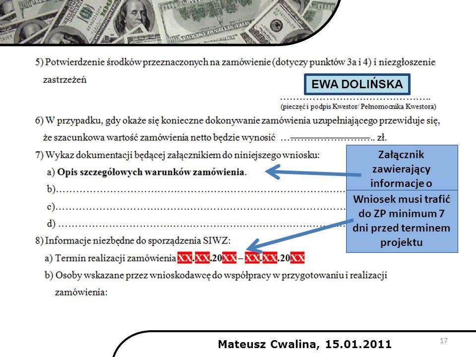 Mateusz Cwalina, 15.01.2011 17 Załącznik zawierający informacje o zamówieniu Wniosek musi trafić do ZP minimum 7 dni przed terminem projektu EWA DOLIŃ