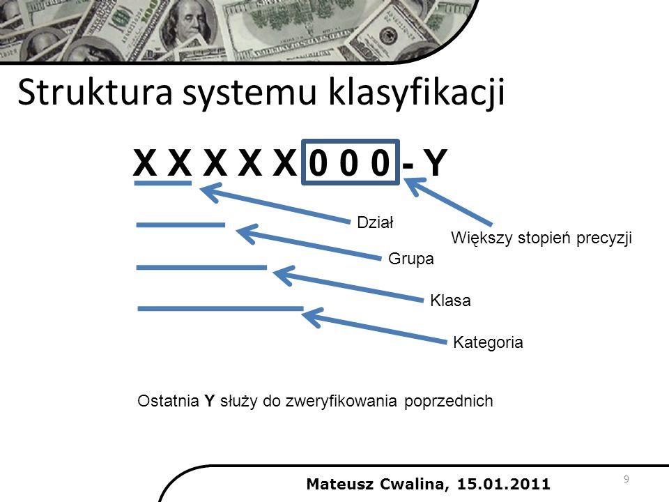 Mateusz Cwalina, 15.01.2011 9 Struktura systemu klasyfikacji X X X X X 0 0 0 - Y Dział Grupa Klasa Kategoria Większy stopień precyzji Ostatnia Y służy
