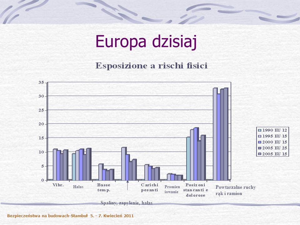 Europa dzisiaj Hałas Spaliny, zapylenie, hałas Promien iowanie Powtarzalne ruchy rąk i ramion Bezpieczeństwa na budowach-Stambuł 5. - 7. Kwiecień 2011