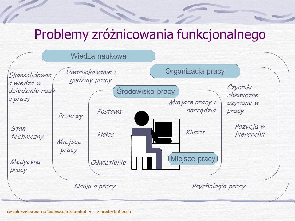 Problemy zróżnicowania funkcjonalnego Hałas Klimat Oświetlenie Miejsce pracy i narzędzia Uwarunkowanie i godziny pracy Przerwy Środowisko pracy Organi