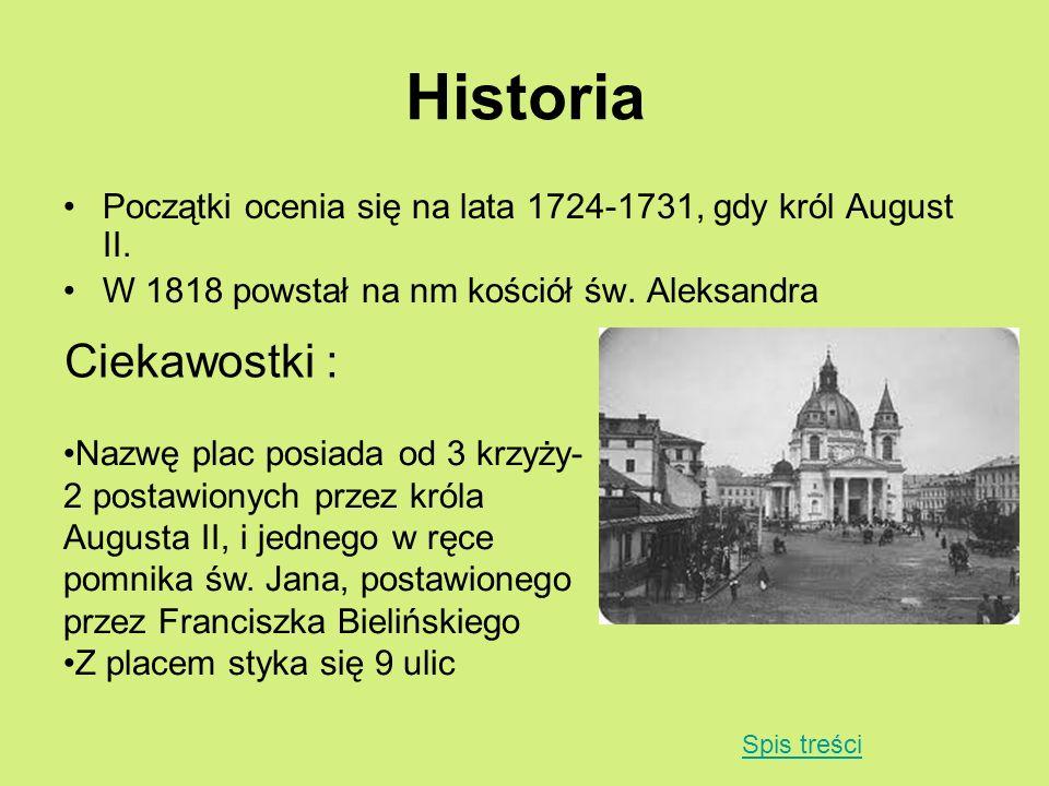 Historia Początki ocenia się na lata 1724-1731, gdy król August II. W 1818 powstał na nm kościół św. Aleksandra Ciekawostki : Nazwę plac posiada od 3