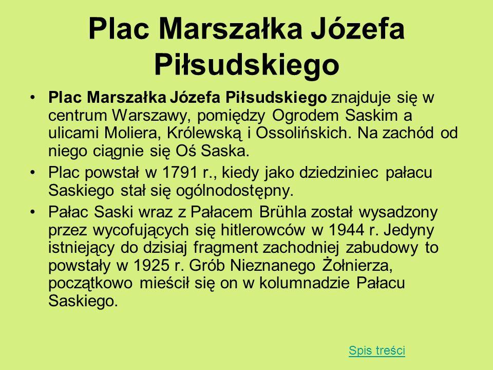 Plac Marszałka Józefa Piłsudskiego Plac Marszałka Józefa Piłsudskiego znajduje się w centrum Warszawy, pomiędzy Ogrodem Saskim a ulicami Moliera, Król