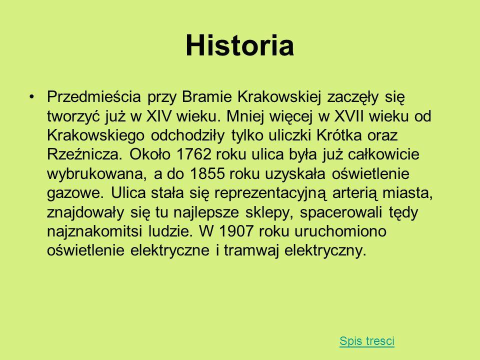 Historia Przedmieścia przy Bramie Krakowskiej zaczęły się tworzyć już w XIV wieku. Mniej więcej w XVII wieku od Krakowskiego odchodziły tylko uliczki