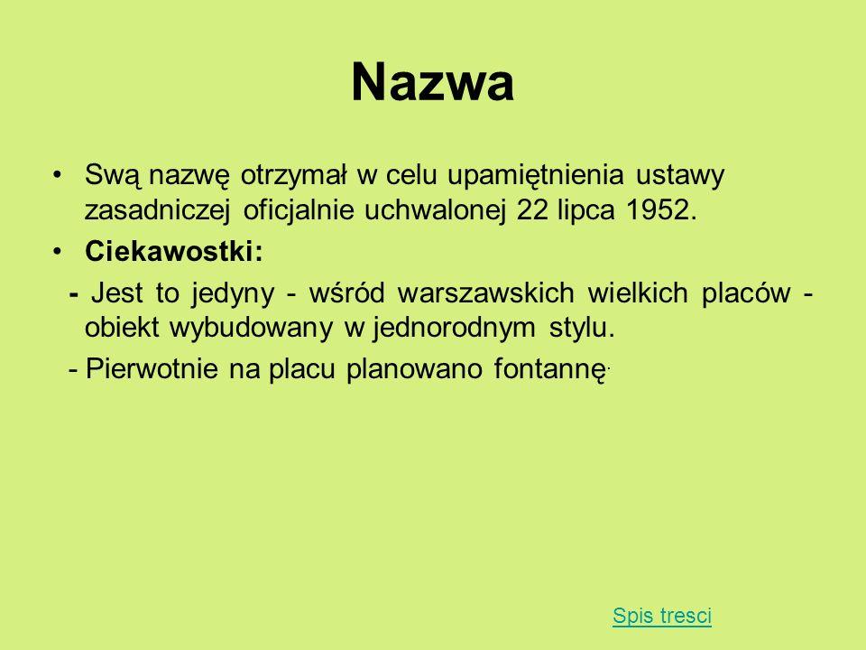 Nazwa Swą nazwę otrzymał w celu upamiętnienia ustawy zasadniczej oficjalnie uchwalonej 22 lipca 1952. Ciekawostki: - Jest to jedyny - wśród warszawski