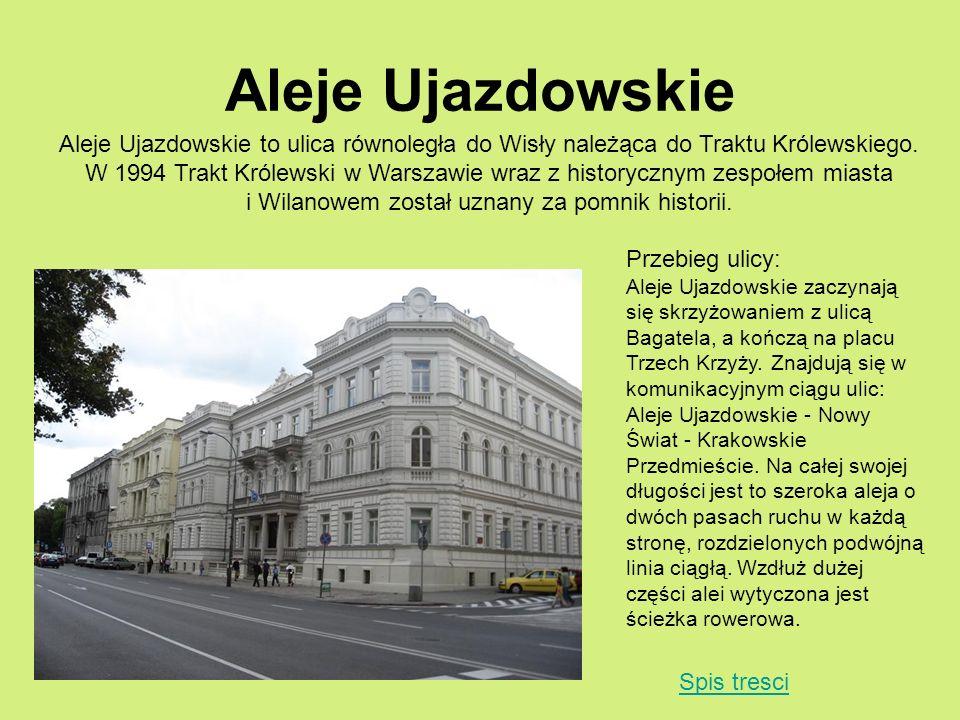 Aleje Ujazdowskie Aleje Ujazdowskie to ulica równoległa do Wisły należąca do Traktu Królewskiego. W 1994 Trakt Królewski w Warszawie wraz z historyczn