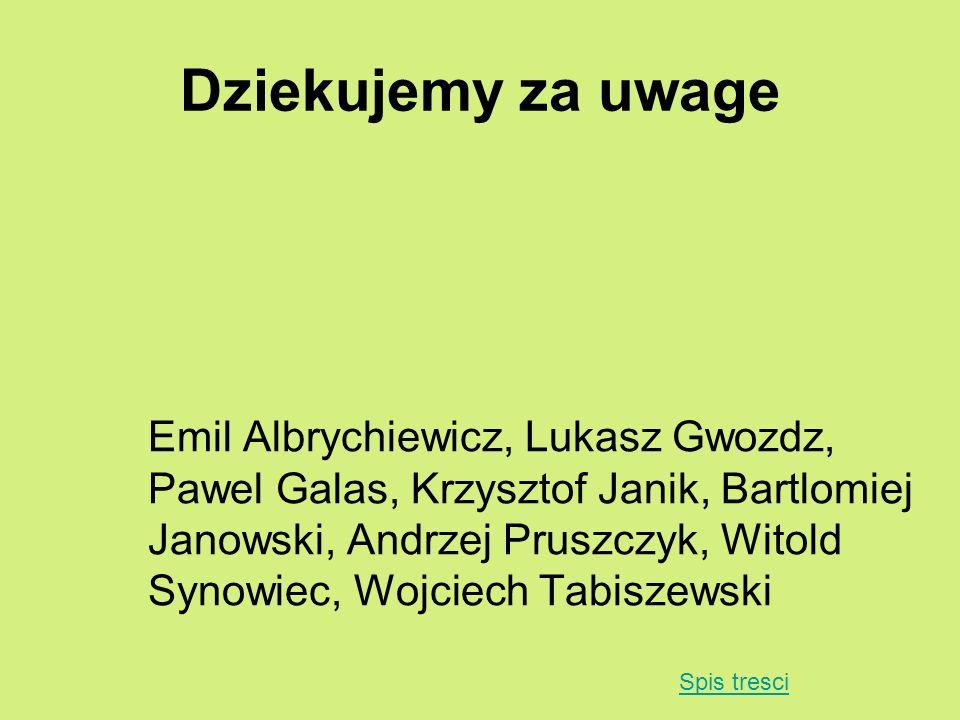 Dziekujemy za uwage Emil Albrychiewicz, Lukasz Gwozdz, Pawel Galas, Krzysztof Janik, Bartlomiej Janowski, Andrzej Pruszczyk, Witold Synowiec, Wojciech