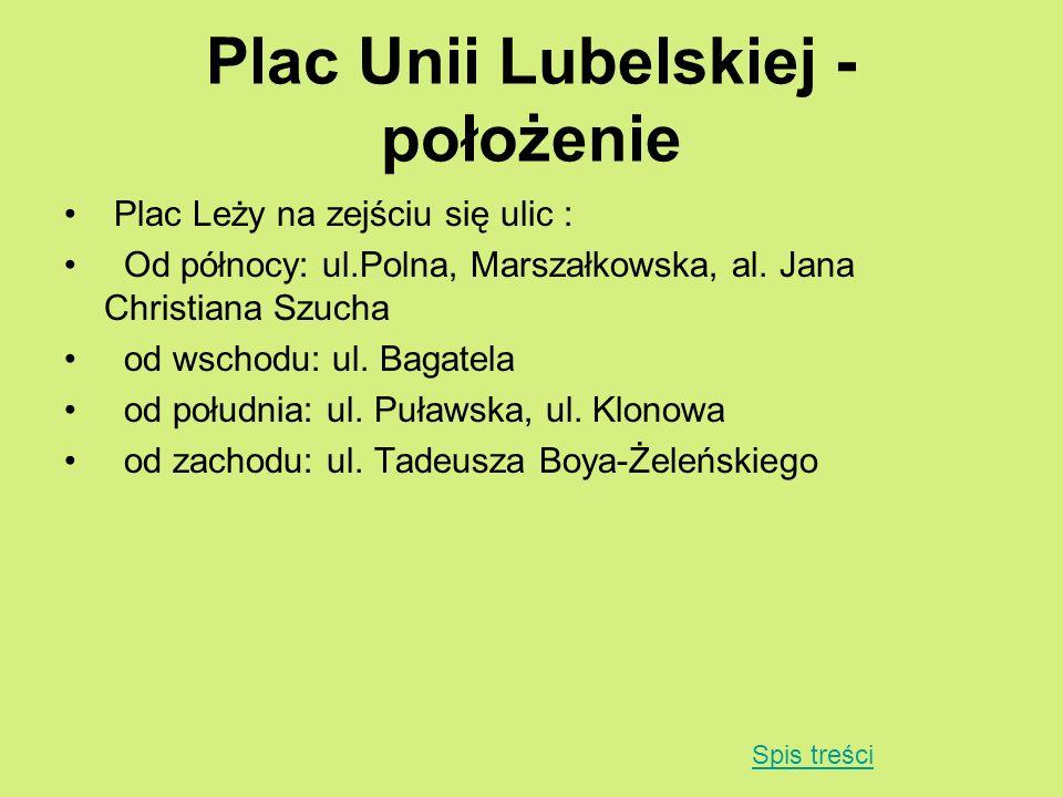 Plac Unii Lubelskiej - położenie Plac Leży na zejściu się ulic : Od północy: ul.Polna, Marszałkowska, al. Jana Christiana Szucha od wschodu: ul. Bagat