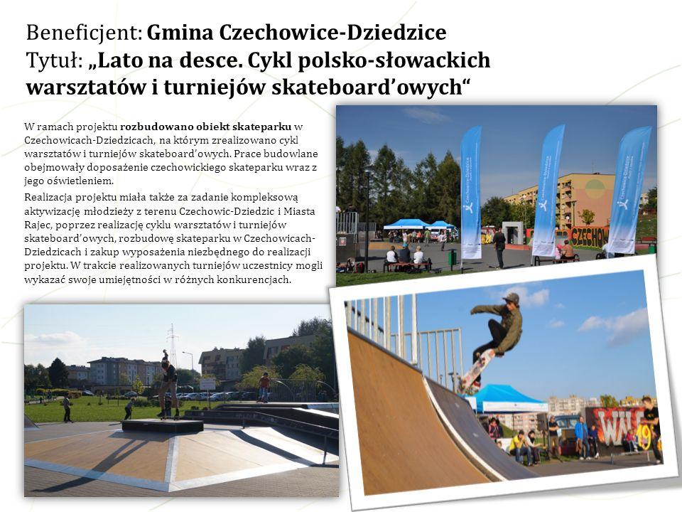 W ramach projektu rozbudowano obiekt skateparku w Czechowicach-Dziedzicach, na którym zrealizowano cykl warsztatów i turniejów skateboardowych. Prace