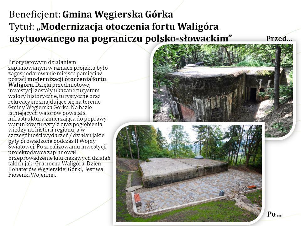 Priorytetowym działaniem zaplanowanym w ramach projektu było zagospodarowanie miejsca pamięci w postaci modernizacji otoczenia fortu Waligóra. Dzięki