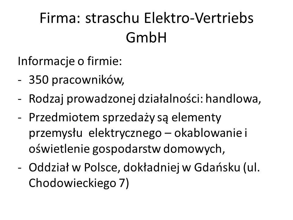 Firma: straschu Elektro-Vertriebs GmbH Informacje o firmie: -350 pracowników, -Rodzaj prowadzonej działalności: handlowa, -Przedmiotem sprzedaży są el