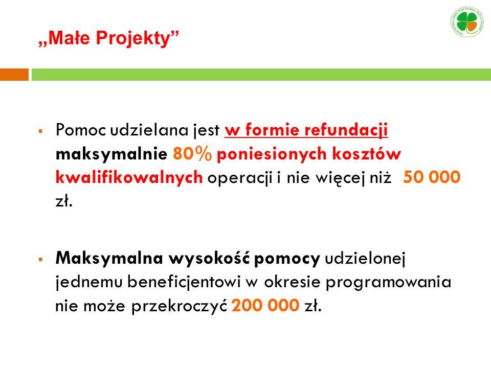 Pomoc udzielana jest w formie refundacji maksymalnie 80% poniesionych kosztów kwalifikowalnych operacji i nie więcej niż 50 000 zł. Maksymalna wysokoś