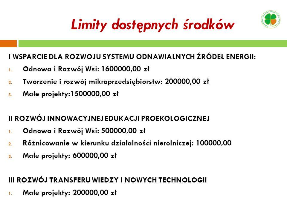 Limity dostępnych środków I WSPARCIE DLA ROZWOJU SYSTEMU ODNAWIALNYCH ŹRÓDEŁ ENERGII: 1. Odnowa i Rozwój Wsi: 1600000,00 zł 2. Tworzenie i rozwój mikr