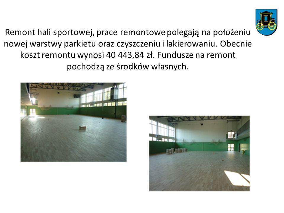 Remont hali sportowej, prace remontowe polegają na położeniu nowej warstwy parkietu oraz czyszczeniu i lakierowaniu. Obecnie koszt remontu wynosi 40 4