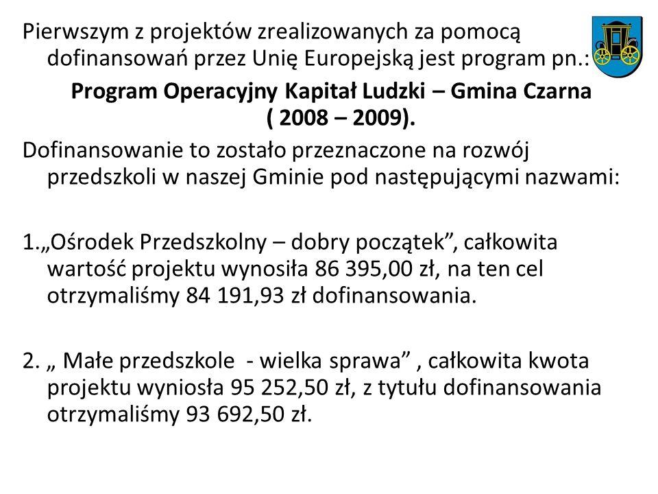 Pierwszym z projektów zrealizowanych za pomocą dofinansowań przez Unię Europejską jest program pn.: Program Operacyjny Kapitał Ludzki – Gmina Czarna (