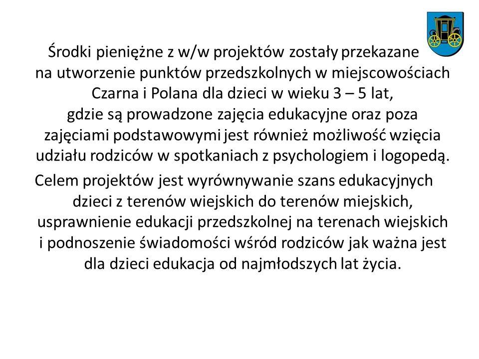 Środki pieniężne z w/w projektów zostały przekazane na utworzenie punktów przedszkolnych w miejscowościach Czarna i Polana dla dzieci w wieku 3 – 5 la