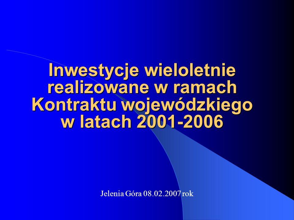 Inwestycje wieloletnie realizowane w ramach Kontraktu wojewódzkiego w latach 2001-2006 Jelenia Góra 08.02.2007 rok