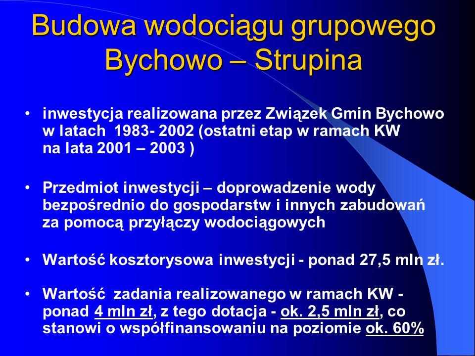 inwestycja realizowana przez Związek Gmin Bychowo w latach 1983- 2002 (ostatni etap w ramach KW na lata 2001 – 2003 ) Przedmiot inwestycji – doprowadz