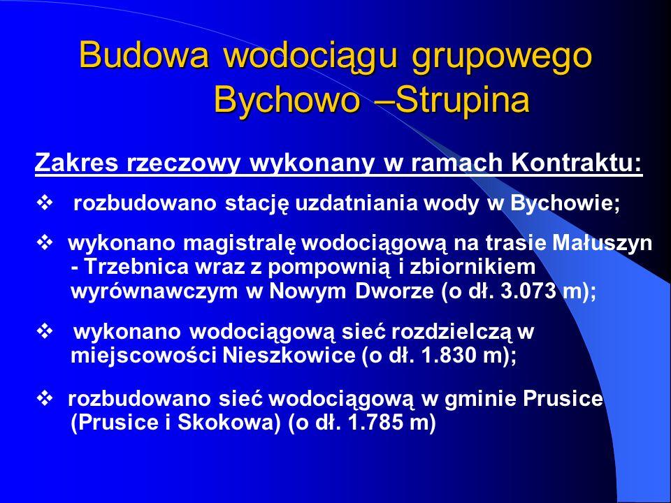 Budowa wodociągu grupowego Bychowo –Strupina Zakres rzeczowy wykonany w ramach Kontraktu: rozbudowano stację uzdatniania wody w Bychowie; wykonano mag
