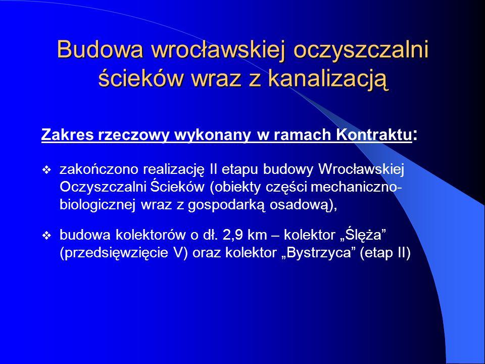 Budowa wrocławskiej oczyszczalni ścieków wraz z kanalizacją Zakres rzeczowy wykonany w ramach Kontraktu : zakończono realizację II etapu budowy Wrocła