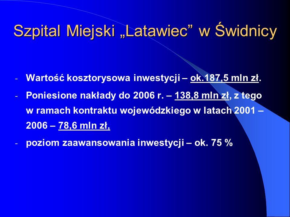 - Wartość kosztorysowa inwestycji – ok.187,5 mln zł. - Poniesione nakłady do 2006 r. – 138,8 mln zł, z tego w ramach kontraktu wojewódzkiego w latach
