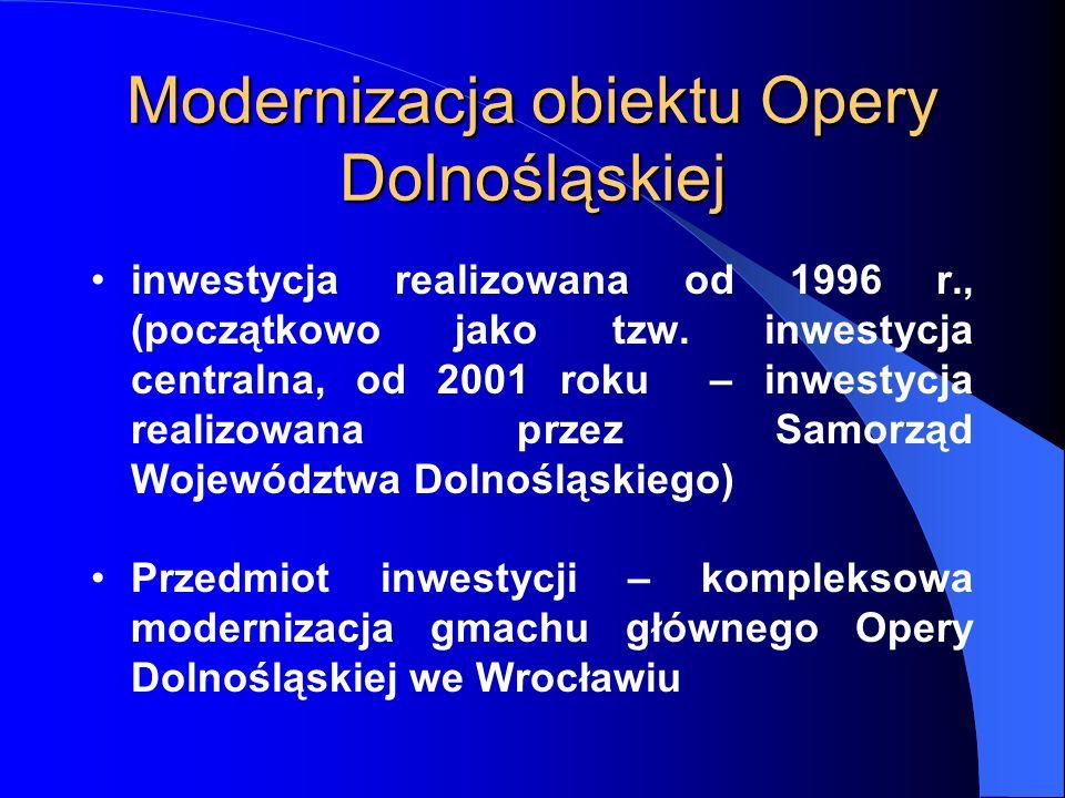 inwestycja realizowana od 1996 r., (początkowo jako tzw. inwestycja centralna, od 2001 roku – inwestycja realizowana przez Samorząd Województwa Dolnoś