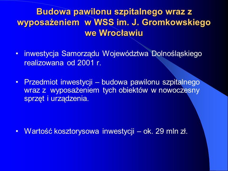 inwestycja Samorządu Województwa Dolnośląskiego realizowana od 2001 r. Przedmiot inwestycji – budowa pawilonu szpitalnego wraz z wyposażeniem tych obi