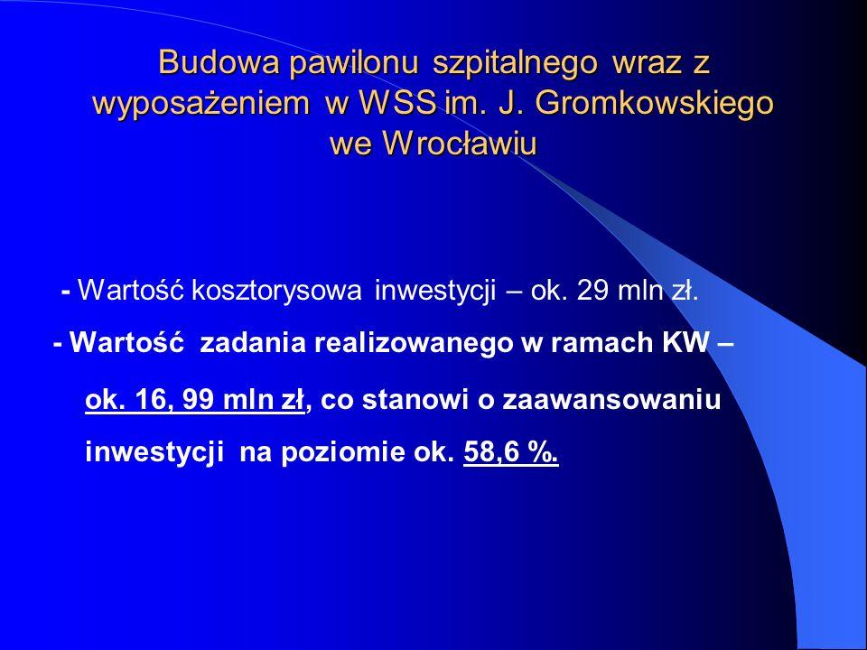 - Wartość kosztorysowa inwestycji – ok. 29 mln zł. - Wartość zadania realizowanego w ramach KW – ok. 16, 99 mln zł, co stanowi o zaawansowaniu inwesty