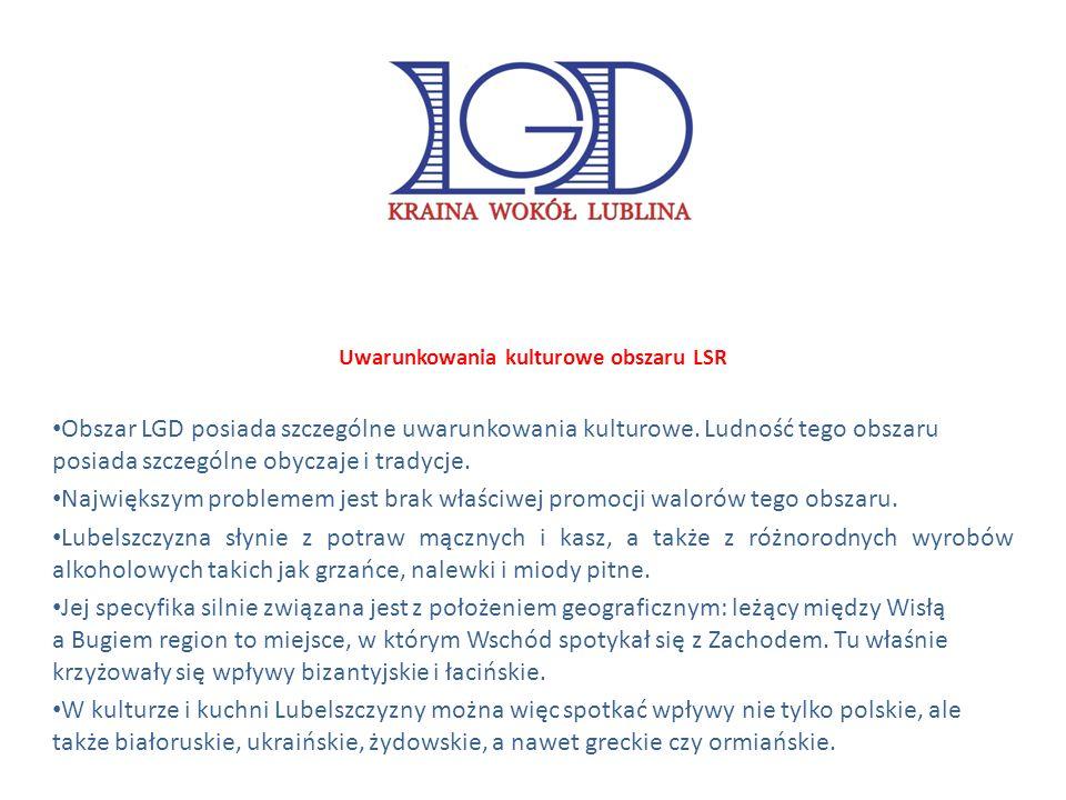 Uwarunkowania kulturowe obszaru LSR Obszar LGD posiada szczególne uwarunkowania kulturowe.