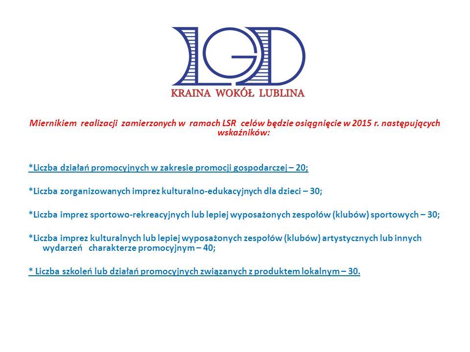 Miernikiem realizacji zamierzonych w ramach LSR celów będzie osiągnięcie w 2015 r.