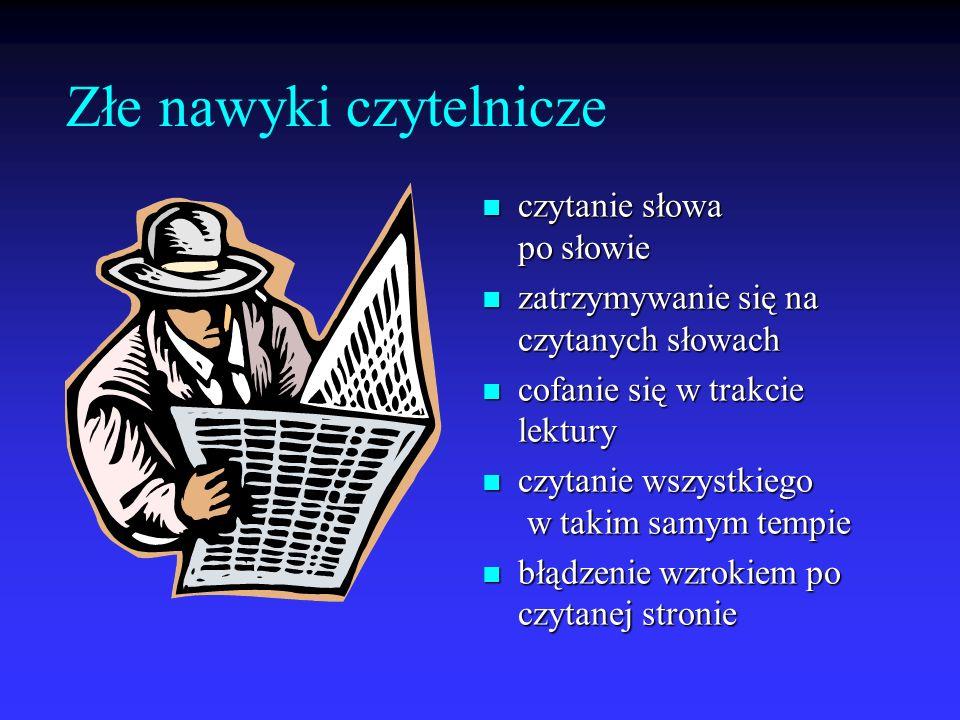 Złe nawyki czytelnicze czytanie słowa po słowie czytanie słowa po słowie zatrzymywanie się na czytanych słowach zatrzymywanie się na czytanych słowach
