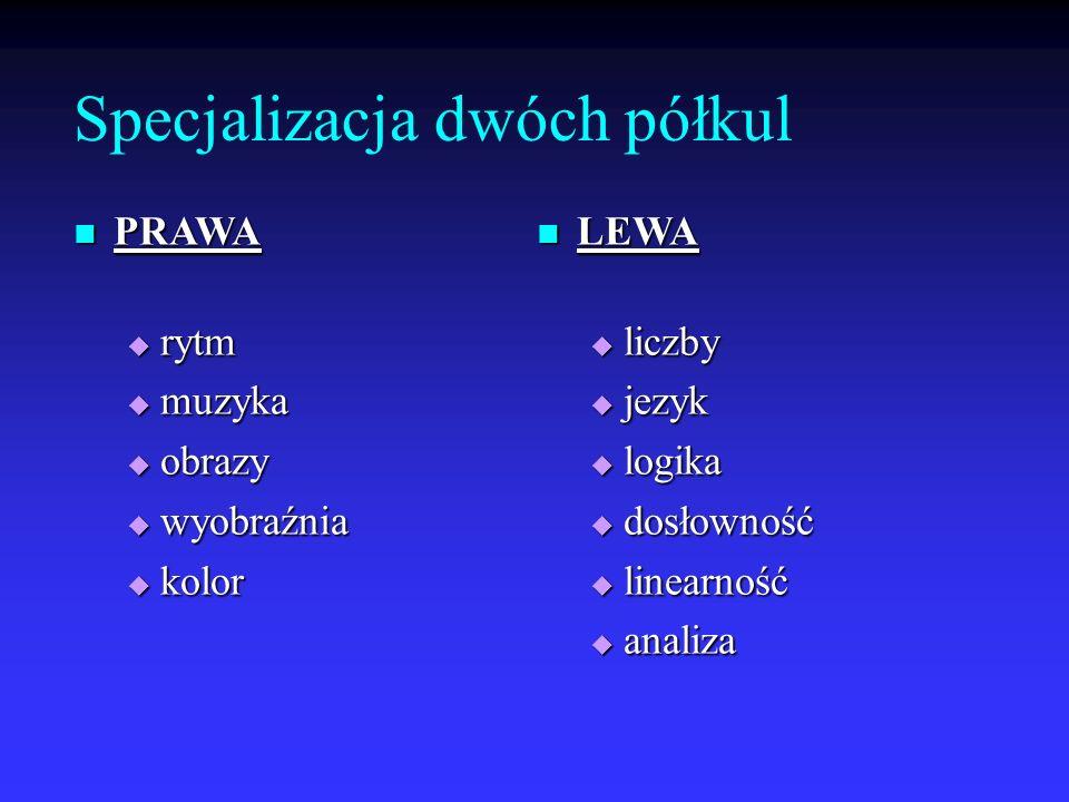 Specjalizacja dwóch półkul PRAWA PRAWA rytm rytm muzyka muzyka obrazy obrazy wyobraźnia wyobraźnia kolor kolor LEWA LEWA liczby liczby jezyk jezyk log