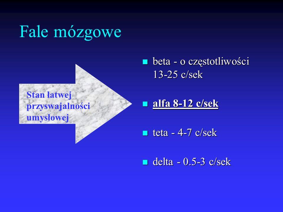 Fale mózgowe beta - o częstotliwości 13-25 c/sek beta - o częstotliwości 13-25 c/sek alfa 8-12 c/sek alfa 8-12 c/sek teta - 4-7 c/sek teta - 4-7 c/sek
