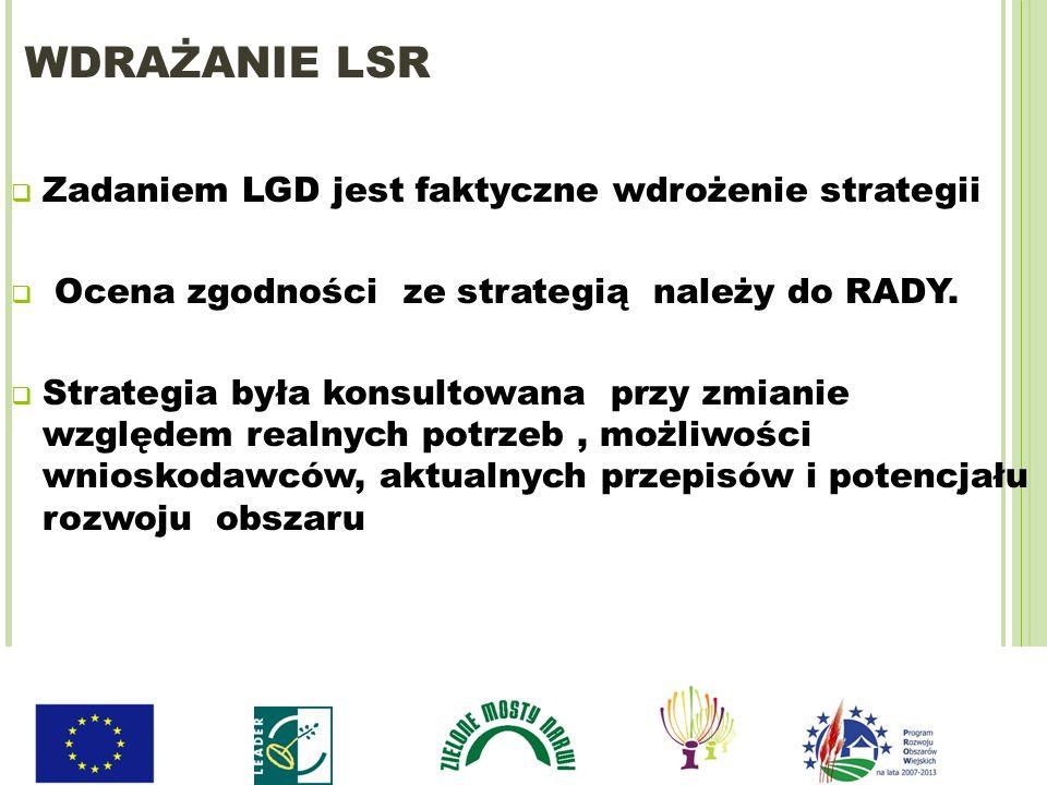 WDRAŻANIE LSR Zadaniem LGD jest faktyczne wdrożenie strategii Ocena zgodności ze strategią należy do RADY. Strategia była konsultowana przy zmianie wz