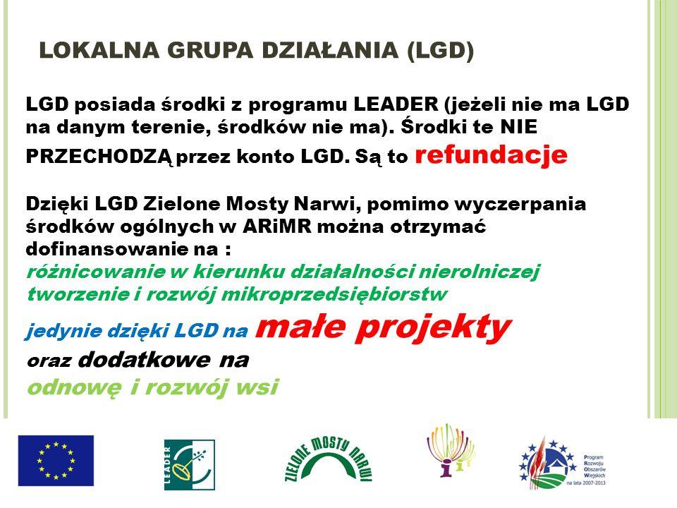 LGD posiada środki z programu LEADER (jeżeli nie ma LGD na danym terenie, środków nie ma). Środki te NIE PRZECHODZĄ przez konto LGD. Są to refundacje