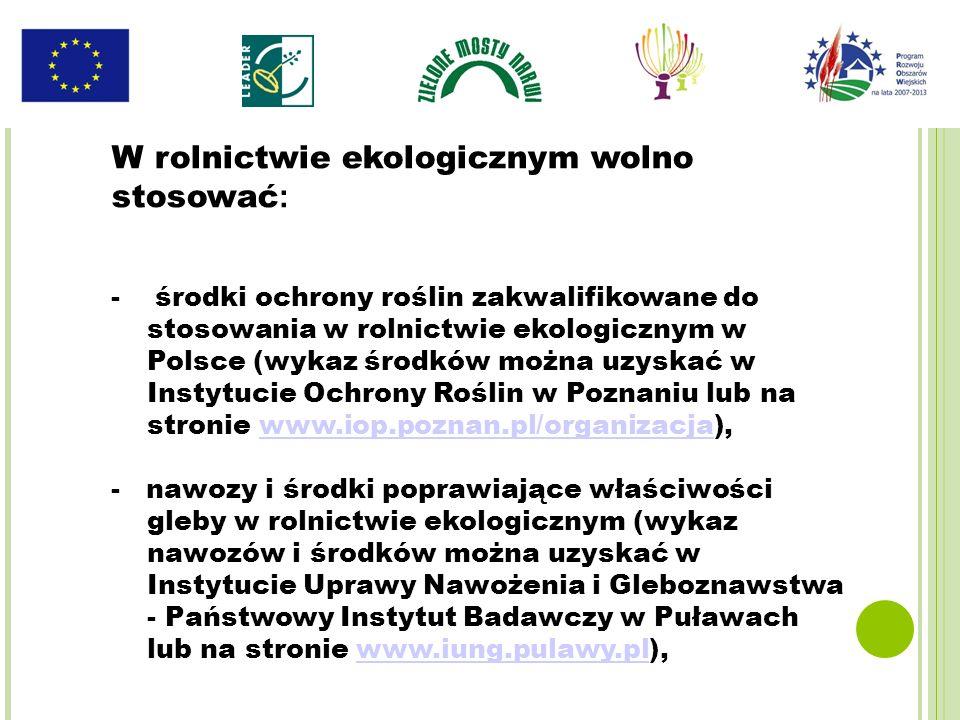 - środki ochrony roślin zakwalifikowane do stosowania w rolnictwie ekologicznym w Polsce (wykaz środków można uzyskać w Instytucie Ochrony Roślin w Po