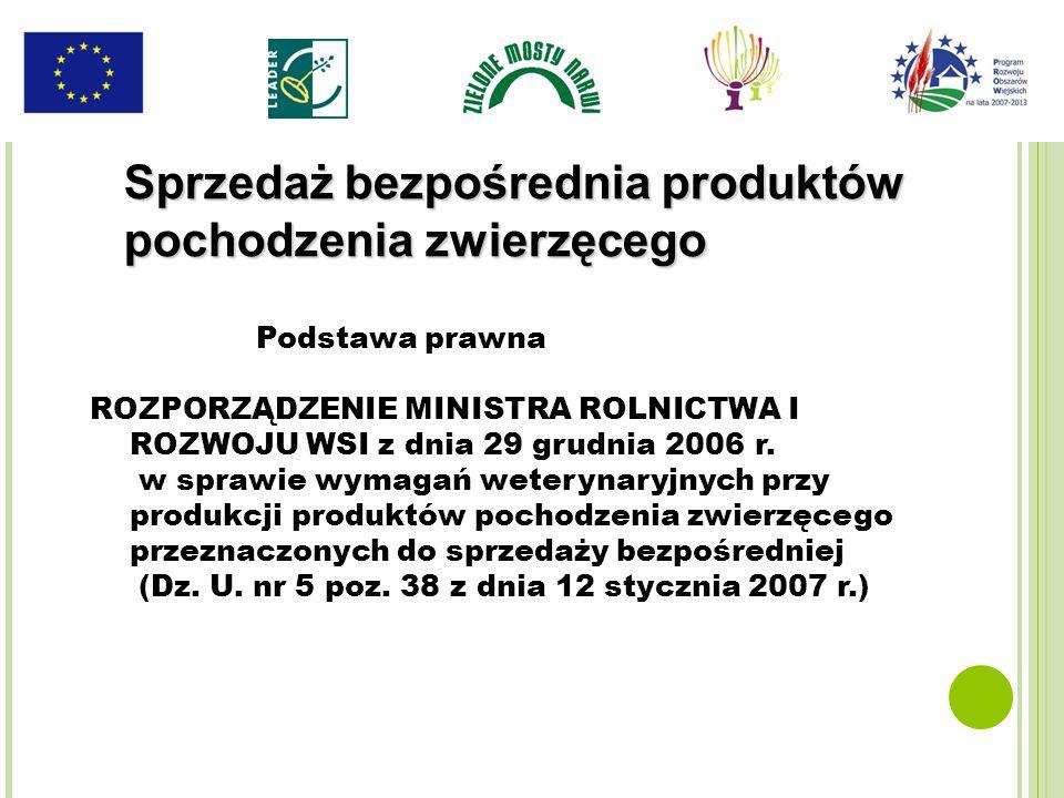 Podstawa prawna ROZPORZĄDZENIE MINISTRA ROLNICTWA I ROZWOJU WSI z dnia 29 grudnia 2006 r. w sprawie wymagań weterynaryjnych przy produkcji produktów p