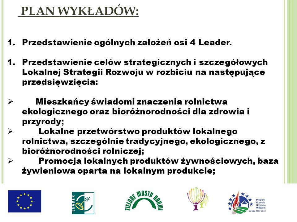 1.Przedstawienie ogólnych założeń osi 4 Leader. 1.Przedstawienie celów strategicznych i szczegółowych Lokalnej Strategii Rozwoju w rozbiciu na następu
