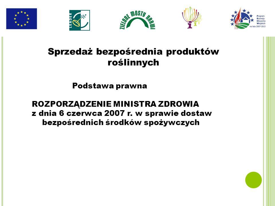 Podstawa prawna ROZPORZĄDZENIE MINISTRA ZDROWIA z dnia 6 czerwca 2007 r. w sprawie dostaw bezpośrednich środków spożywczych Sprzedaż bezpośrednia prod