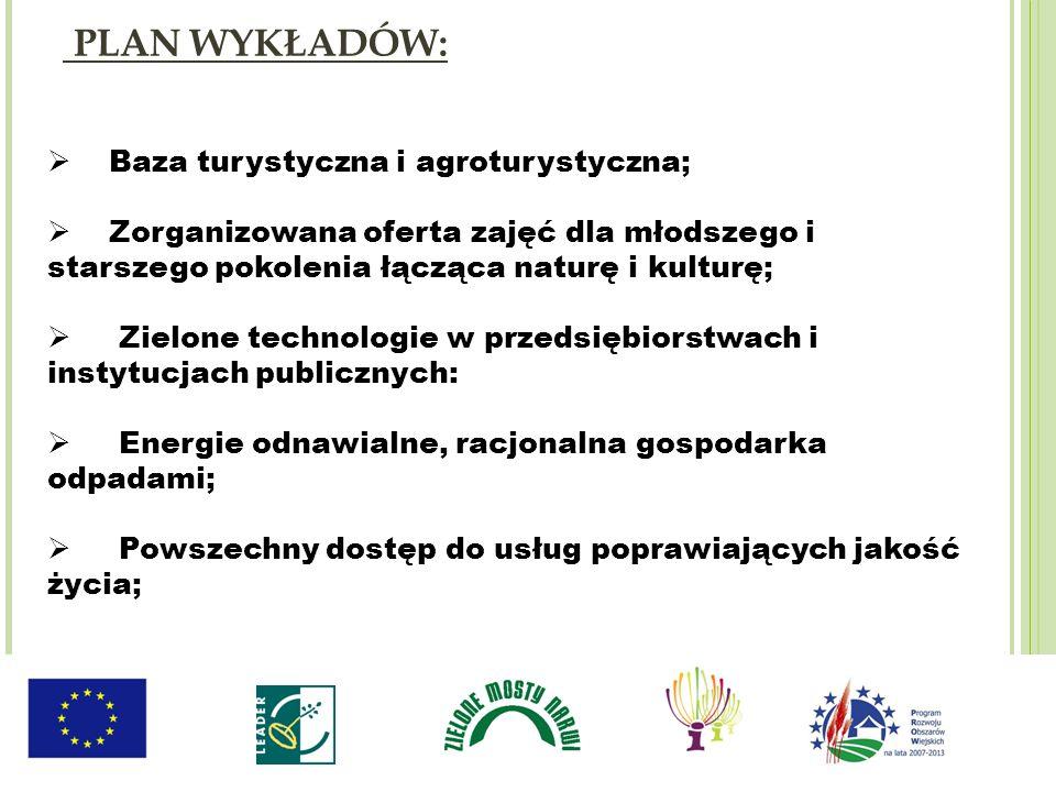 Baza turystyczna i agroturystyczna; Zorganizowana oferta zajęć dla młodszego i starszego pokolenia łącząca naturę i kulturę; Zielone technologie w prz