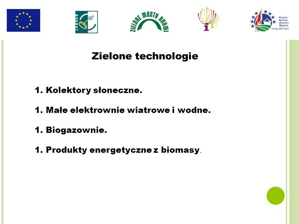 1.Kolektory słoneczne. 1.Małe elektrownie wiatrowe i wodne. 1.Biogazownie. 1.Produkty energetyczne z biomasy. Zielone technologie