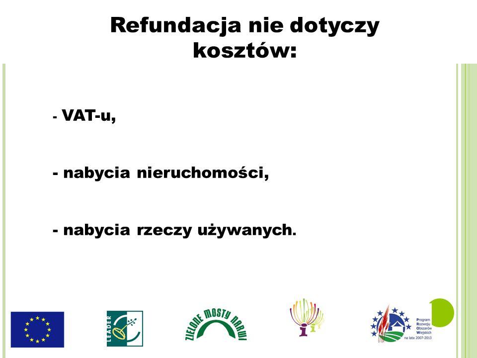 - VAT-u, - nabycia nieruchomości, - nabycia rzeczy używanych. Refundacja nie dotyczy kosztów: