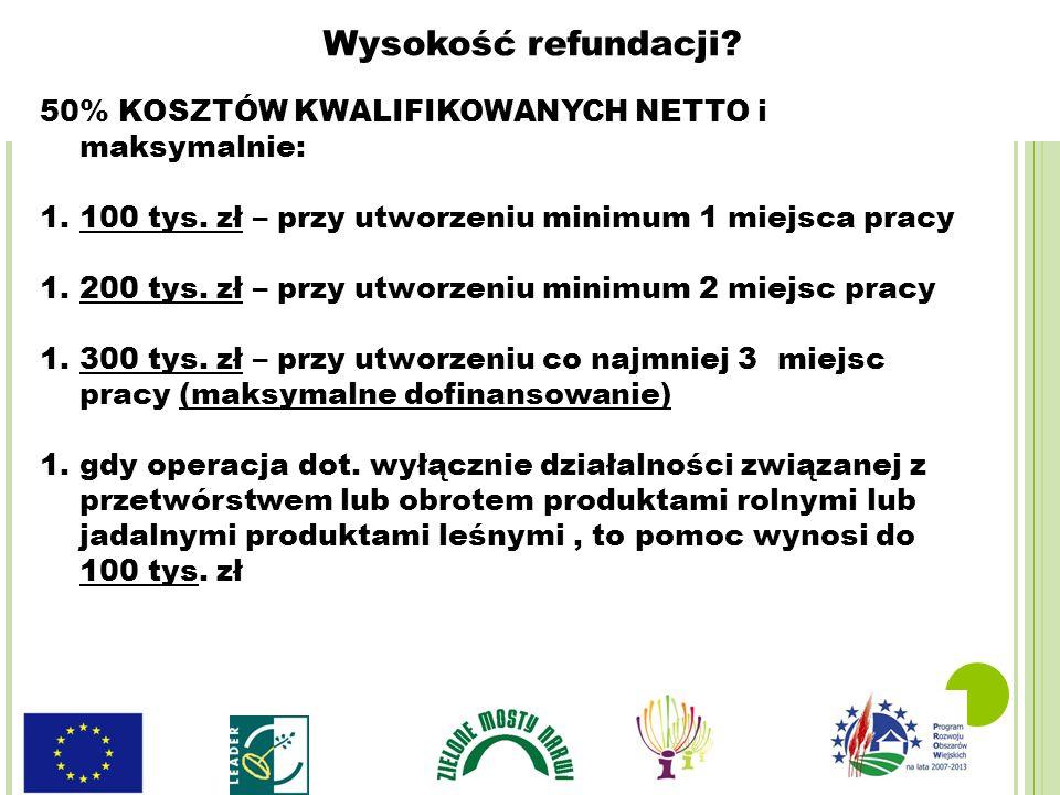 50% KOSZTÓW KWALIFIKOWANYCH NETTO i maksymalnie: 1.100 tys. zł – przy utworzeniu minimum 1 miejsca pracy 1.200 tys. zł – przy utworzeniu minimum 2 mie