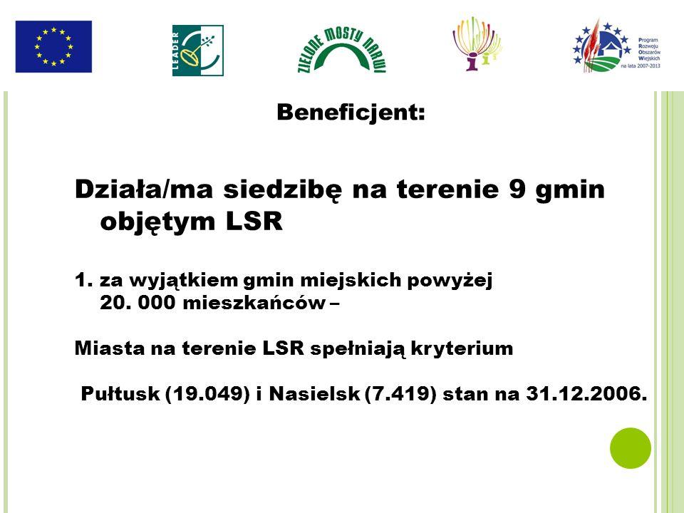 Działa/ma siedzibę na terenie 9 gmin objętym LSR 1.za wyjątkiem gmin miejskich powyżej 20. 000 mieszkańców – Miasta na terenie LSR spełniają kryterium