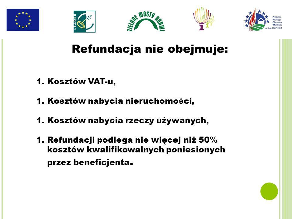 1.Kosztów VAT-u, 1.Kosztów nabycia nieruchomości, 1.Kosztów nabycia rzeczy używanych, 1.Refundacji podlega nie więcej niż 50% kosztów kwalifikowalnych