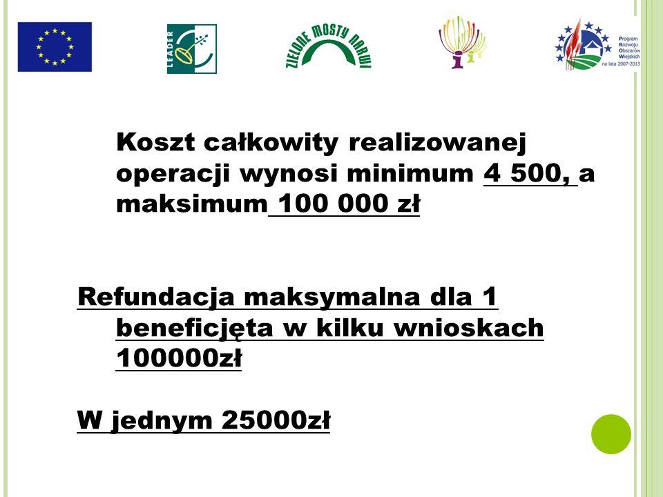 Koszt całkowity realizowanej operacji wynosi minimum 4 500, a maksimum 100 000 zł Refundacja maksymalna dla 1 beneficjęta w kilku wnioskach 100000zł W