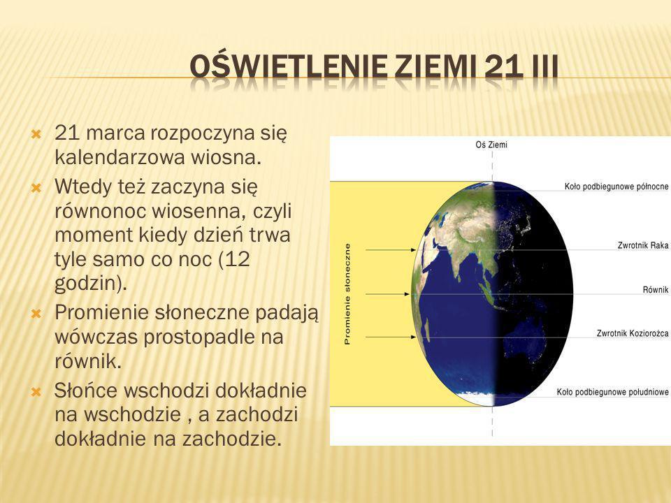 21 marca rozpoczyna się kalendarzowa wiosna. Wtedy też zaczyna się równonoc wiosenna, czyli moment kiedy dzień trwa tyle samo co noc (12 godzin). Prom