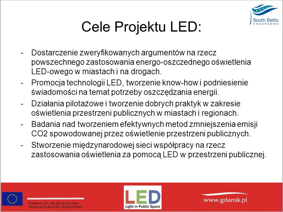 DZIAŁANIA W RAMACH LED W ramach projektu Miasto Gdańsk będzie prowadzić następujące działania: Przeprowadzenie działań pilotażowych – oświetlenie przestrzeni publicznej związanej z kulturą.